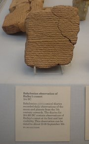 A Babylonian tablet recording the appearance of Halley's comet in 164 BC.