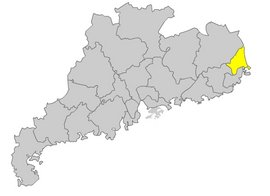 Chaozhou Prefecture (in yellow)