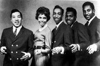 Smokey Robinson & the Miracles, c. 1962. From left to right: Smokey Robinson, Claudette Rogers Robinson, Ronald White, Pete Moore, and Bobby Rogers.