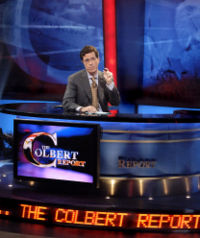 Colbert on the set of The Colbert Report.