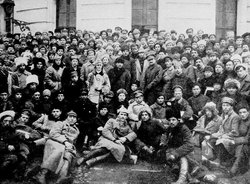 Lenin, Trotsky, and soldiers of the Red Army in Petrograd