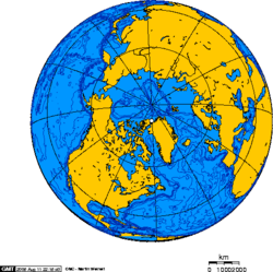 Orthographic projection centred over Alert Nunavut