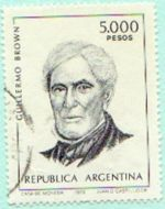 Argentine stamp with the image of Admiral Guillermo Brown