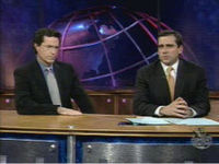 "Colbert with Steve Carell in the segment ""Even Stephven"" from The Daily Show."