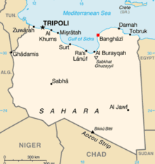 Benghazi's location within Libya
