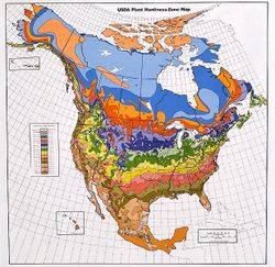 Map of the North American hardiness zones. An interactive version of this map is available at http://www.usna.usda.gov/Hardzone/ushzmap.html