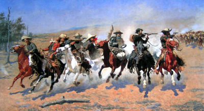 The classic vision of the American cowboy, as portrayed by Frederic Remington