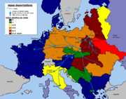 Major deportation routes to Nazi extermination camps during The Holocaust, Aktion T-4 and alike.