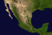 A picture of Mexico seen from space.