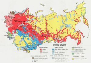 This map shows the 1974 geographic location of various ethnic groups within the Soviet Union.