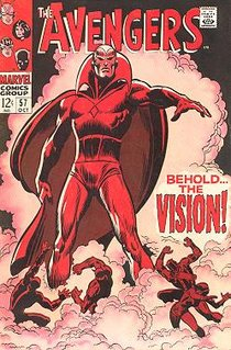 The Avengers #57 (Oct. 1968), debut of the Silver Age Vision — created by Roy Thomas as an homage to the Golden Age original. Cover art by penciler-inker John Buscema.
