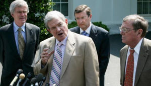 Sen. Kit Bond speaks to reporters outside the White House after meeting with President George W. Bush to address the growing rate of gasoline. Sen. Jeff Bingaman (D-NM), left, Sen. Kent Conrad (D-ND), behind and Sen. Pete Domenici (R-NM) accompanied Bond to address this issue.