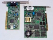 A PCI Winmodem/Softmodem (on the left) next to a traditional ISA modem (on the right). Notice the less complex circuitry of the modem on the left.