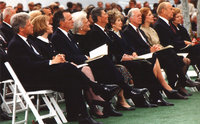 Five presidents and first ladies attended the funeral of Richard Nixon on April 27, 1994, in Nixon's hometown of Yorba Linda, California. From left: Bill and Hillary Clinton, George H.W. and Barbara Bush, Ronald and Nancy Reagan, Jimmy and Rosalynn Carter, Gerald and Betty Ford.