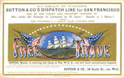 "Clipper ship sailing card for the ""Free Trade,"" printed by Nesbitt & Co., NY, early 1860s"