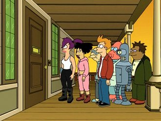 From left to right: Leela, Amy, Professor Farnsworth, Fry, Dr. Zoidberg, Bender, and Hermes.
