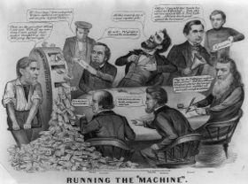 The Running MachineAn 1864 cartoon featuring Fessenden, Edwin Stanton, Abraham Lincoln, William Seward and Gideon Welles takes a swing at the Lincoln administration.