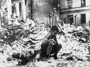 A survivor of German aerial bombardment, Siege of Warsaw.