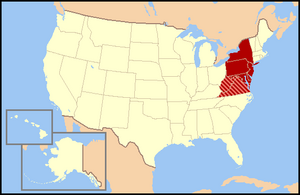 Regional definitions vary from source to source. The states shown in dark red are usually included, while all or portions of the striped states may or may not be considered part of the Mid-Atlantic.