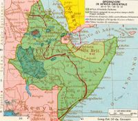 Map showing Italian East Africa and the route of the Allied offensive to capture the Horn of Africa.