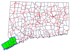 Map of Connecticut highlighting the Southwestern Region.