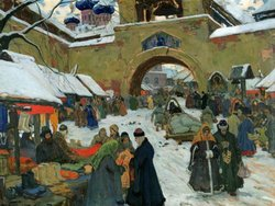 Ivan Goryushkin-Skoropudov. Market Day at the Old Town (1910).