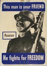 US-Government poster showing a friendly Russian soldier.