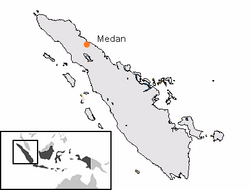Location of Medan in Indonesia.