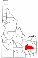 Map of Idaho highlighting Bingham County