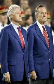 Former presidents Bush and Bill Clinton at Super Bowl XXXIX in 2005.