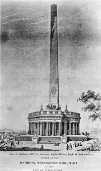 Sketch of the Washington Monument by Robert Mills.