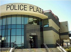 A typical suburban police station in the United States (this one is in San Bruno, California).