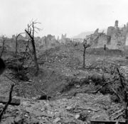 Cassino is destroyed after heavy bombardment.