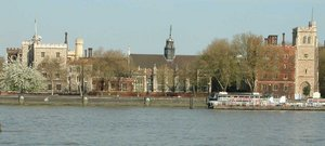 The Archbishop of Canterbury's official London residence is Lambeth Palace, photographed looking east across the River Thames.
