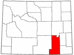 Map of Wyoming highlighting Albany County