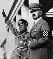 Benito Mussolini of Fascist Italy (left) and Adolf Hitler of Nazi Germany.