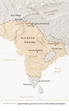 The Mauryan empire at its zenith around 230 BCE.  It should be possible to replace this fair use image with a freely licensed one. If you can, please do so as soon as is practical.