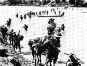 The Indian Army's Gurkha Rifles crossing the Irrawaddy River on 27 January 1945. The Gurkhas were involved in hard fought actions with the Japanese during the early months of 1945.