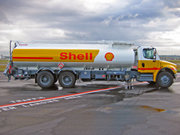 A Shell Jet A refueller truck on the ramp at Vancouver International Airport.