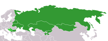 Distribution of the Cyrillic alphabet worldwide. The dark green shows the countries that use Cyrillic as the one main script; the lighter green those that use Cyrillic alongside another official script.