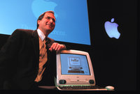 Steve Jobs introducing the original iMac computer in 1998.