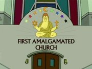 The logo of the First Amalgamated Church, featuring symbols of several present-day religions.