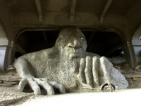The Fremont Troll lives beneath a bridge in Seattle
