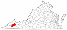Map of Virginia highlighting Russell County