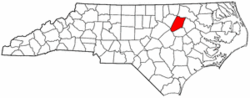 Map of North Carolina highlighting Nash County