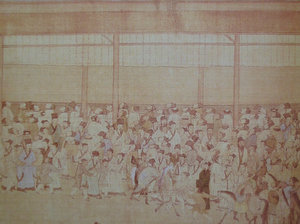 Candidates gathering around the wall where the results had been posted. This announcement was known as 放榜, a term that continues in modern use. (c. 1540)