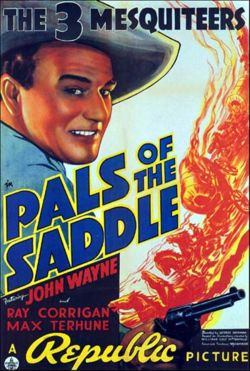 Stony Brooke (Wayne), Tucson Smith (Corrigan), and Lullaby Joslin (Terhune) didn't get much time in harness. Republic Pictures' Pals of the Saddle (1938) lasts just 55 minutes, perfectly average for a Three Mesquiteers adventure.